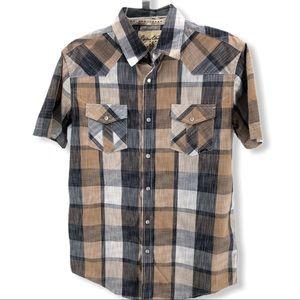 Coastal Snap Button Shirt Mens M Western Plaid